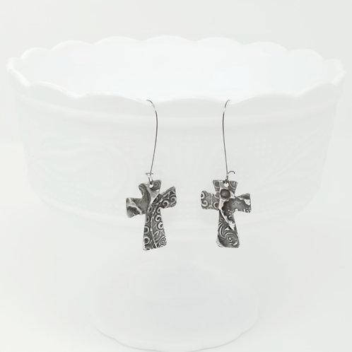 Long Small Cross 6 Molten Solder Earrings
