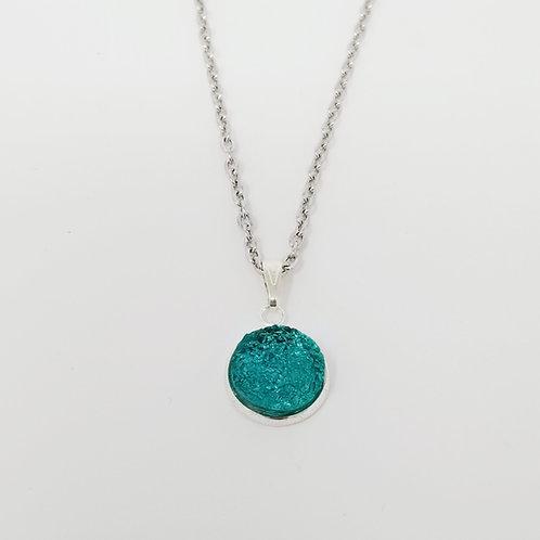 Turquoise Blue Faux Druzy in Antique Silver Cabochon Pendant Necklace