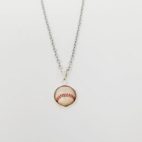Baseball in Antique Silver Cabochon Pendant Necklace