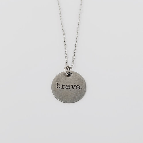 """Brave"" Word Pendant Necklace"