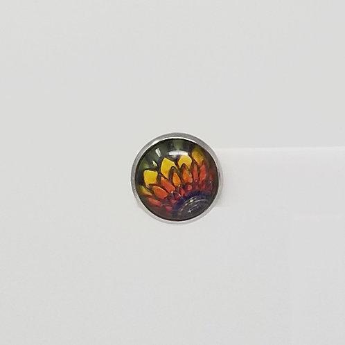 Rainbow Daisy 12mm Round Stud Earrings