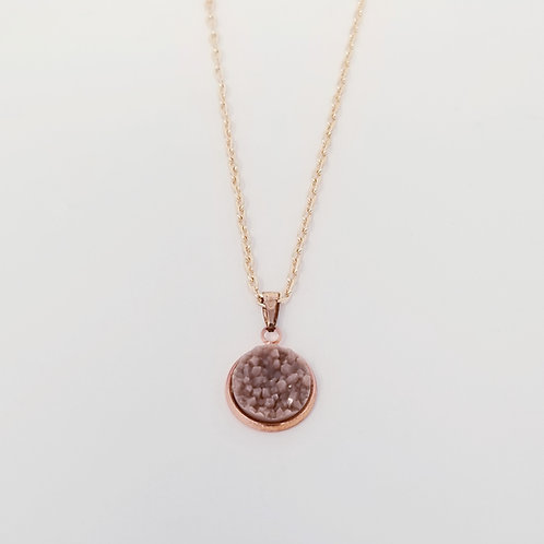 Taupe Matte Faux Druzy in Rose Gold Cabochon Pendant Necklace