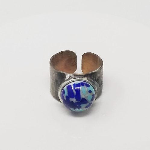 Preciosa Czech Dark Blue Matrix Soldered Brass Ring