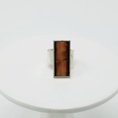 Tan Bark Leather & Metal Ring
