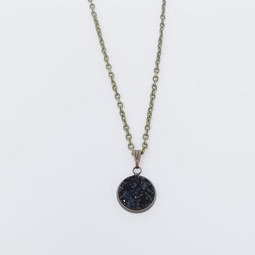 Black Faux Druzy in Antique Bronze Cabochon Pendant Necklace