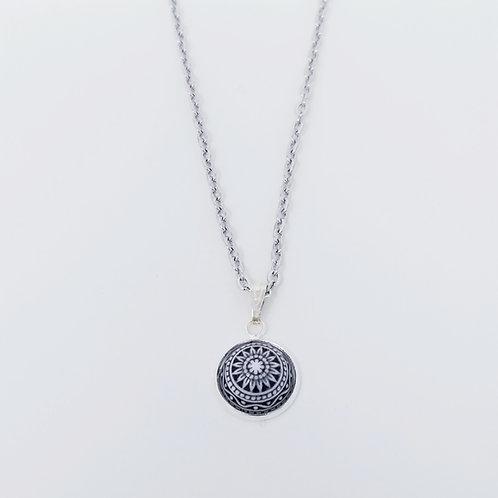 Black Mosaic in Antique Silver Cabochon Pendant Necklace