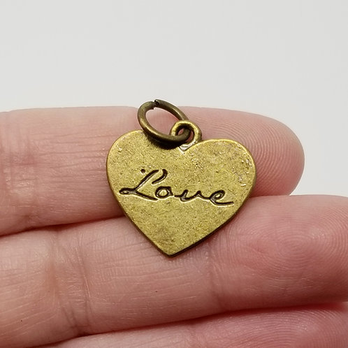 Heart with Love Antique Bronze Charm