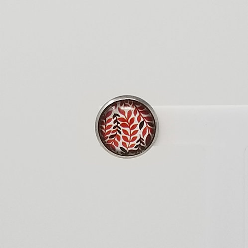 Red Leaves 12mm Round Stud Earrings