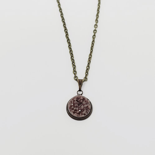 Dark Taupe Faux Druzy in Antique Bronze Cabochon Pendent Necklace