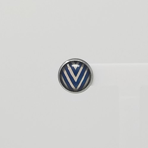 Deep Blue V 12mm Round Stud Earrings