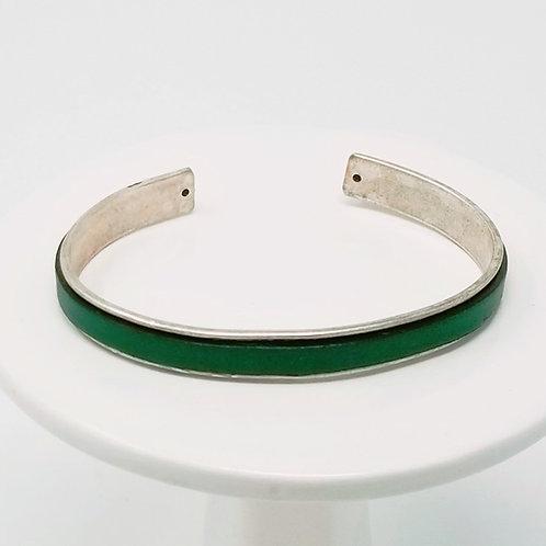 Bottle Green Adjustable Leather & Metal Cuff Bracelet