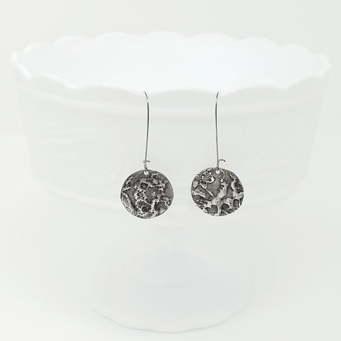 Long Circle 5 Molten Solder Earrings