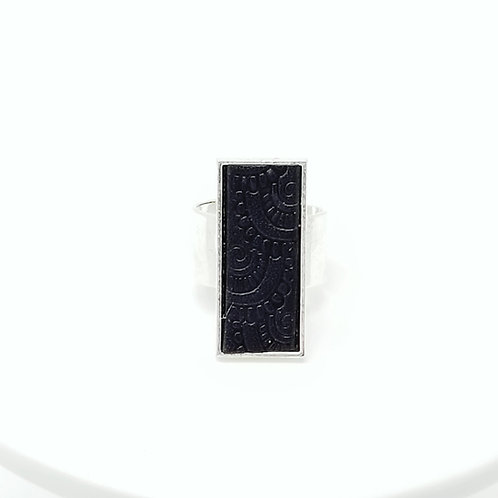 Black Embossed Leather & Metal Ring