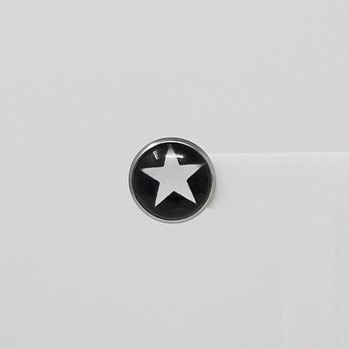 White Star on Black 12mm Round Stud Earrings