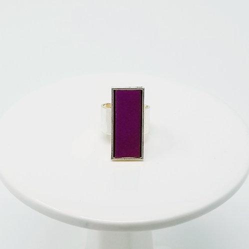 Deep Purple Leather & Metal Ring