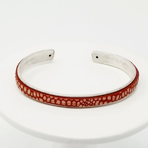 Red with Cream Spots 3 Adjustable Adjustable Leather & Metal Cuff Bracelet
