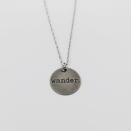 """Wander"" Word Pendant Necklace"