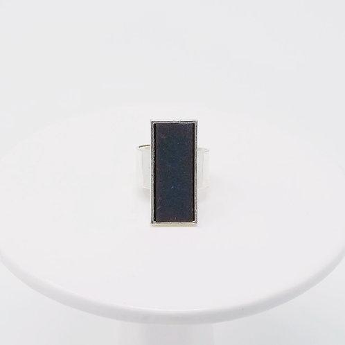 Grey Leather & Metal Ring
