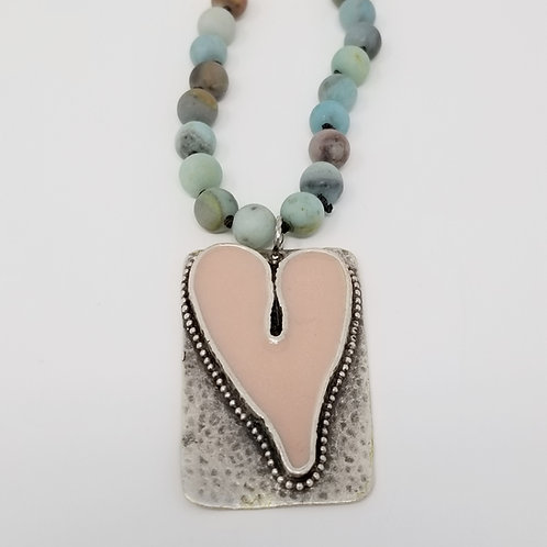 Long Beaded Blush Heart Ice Resin Necklace 6