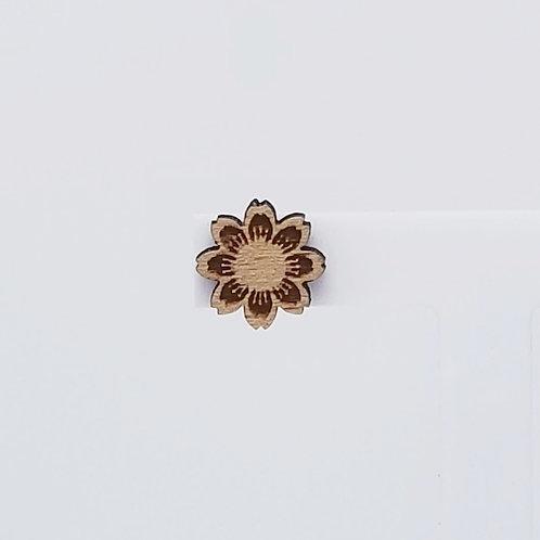 Round Flower Wood Stud Earrings