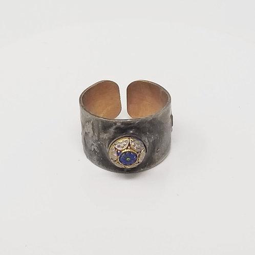 Czech Mosaic Glass Stone Soldered Brass Ring