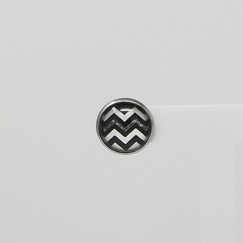 Black, White & Grey Chevron 12mm Round Stud Earrings