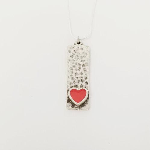 Short Salmon Narrow Heart Ice Resin Necklace 3