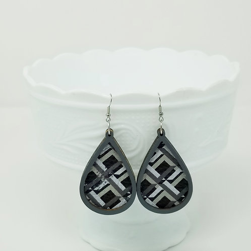 Black, Grey & Olive Squares Genuine Leather & Wood Earrings