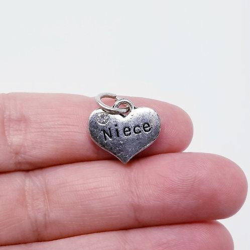 Niece Heart Silver Charm