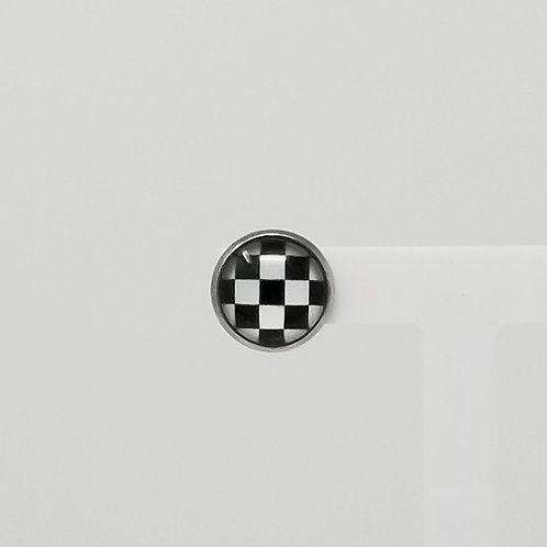 Checkered Flag 12mm Round Stud Earrings