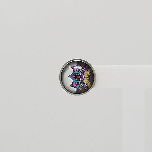 Purple Doodled Flower 12mm Round Stud Earrings