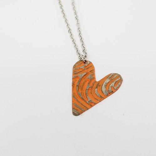 Short Orange Heart Molten Solder Necklace 26