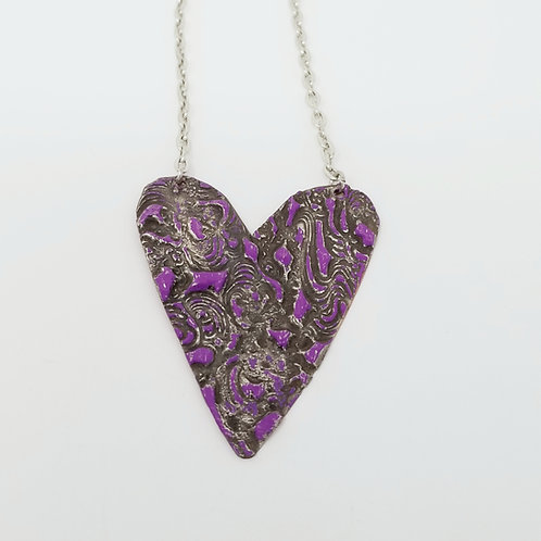 Long Purple Heart Molten Solder Necklace 5