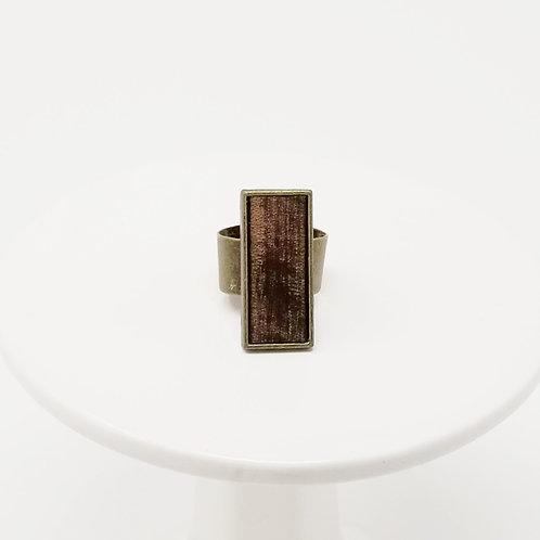 Dark Brown Vintage Leather & Metal Ring