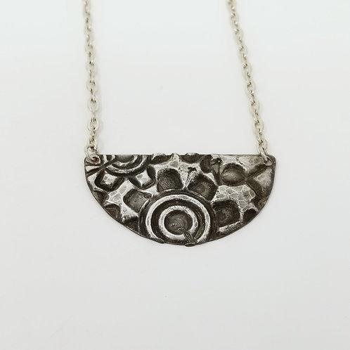 Short Patina Half Moon Molten Solder Necklace 7