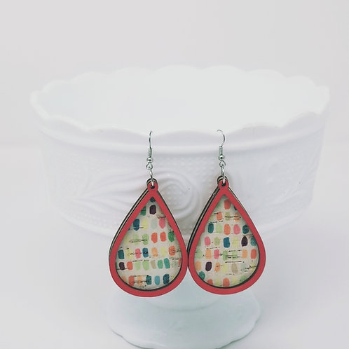 Colorful Paint Brush Dobs 4 Cork Leather & Wood Earrings