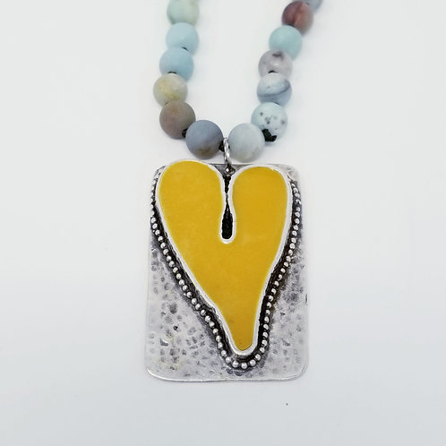 Long Beaded Yellow Heart Ice Resin Necklace 15