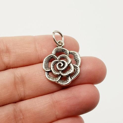 Scroll Flower Silver Charm
