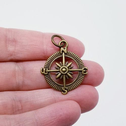 Compass Antique Bronze Charm