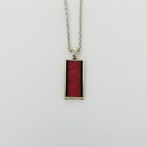 Short Red Embossed Leather & Metal Pendant Necklace 16