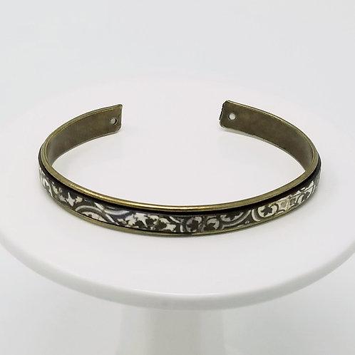 Vintage Boho Adjustable Leather & Metal Cuff Bracelet