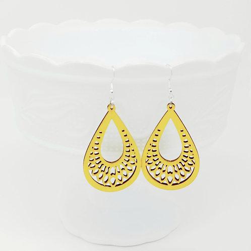 Bright Yellow Wood Earrings