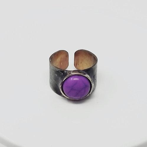 Purple Howlite Soldered Brass Ring