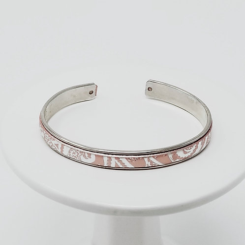 Pink & Silver Embossed Adjustable Leather & Metal Cuff Bracelet