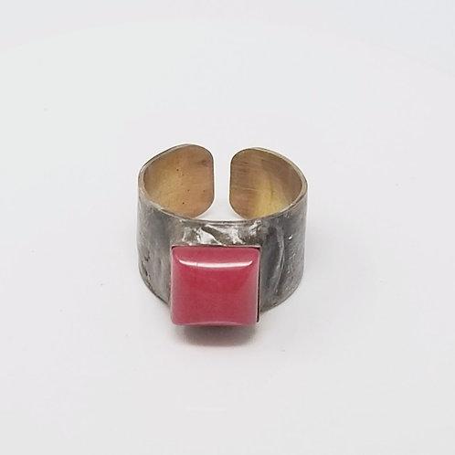 White Jade Dyed Pink Soldered Brass Ring