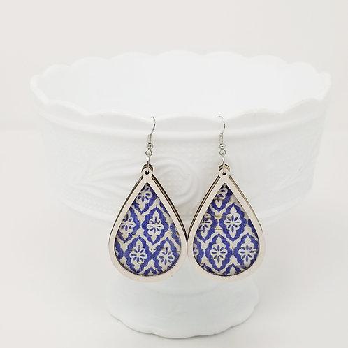 Blue & White Turkish Tiles Cork Leather & Wood Earrings