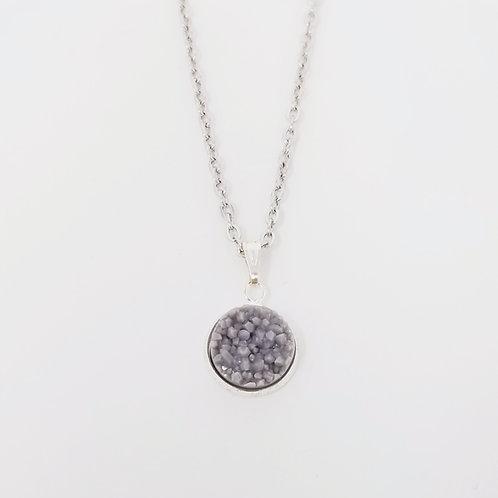 Matte Grey Faux Druzy in Antique Silver Cabochon Pendant Necklace