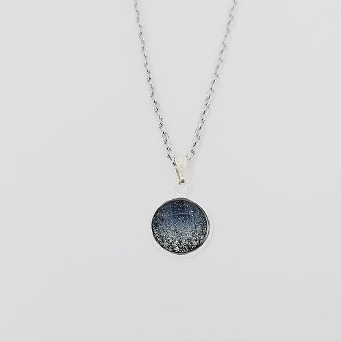 Faceted Navy Blue Glitter in Antique Silver Cabochon Pendant Necklace