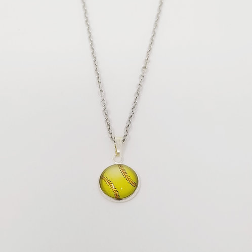 Softball in Antique Silver Cabochon Pendant Necklace