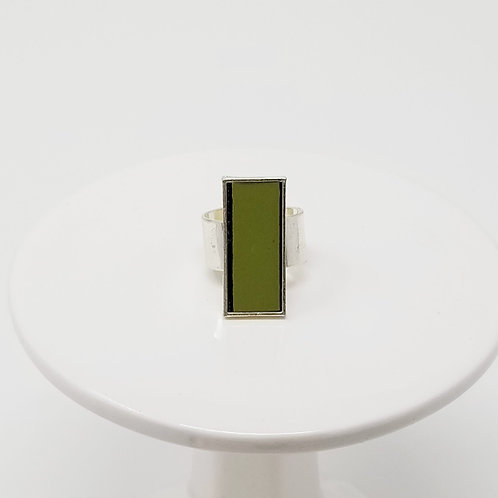 Olive Green Leather & Metal Ring